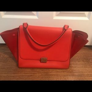 100% Authentic Red Celine medium trapeze bag